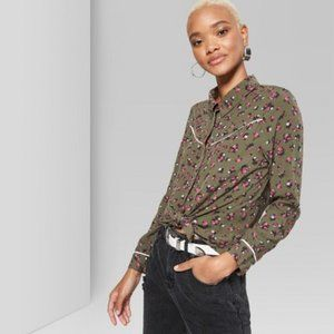 Long Sleeve Button-Down Tie Front tie Western Top